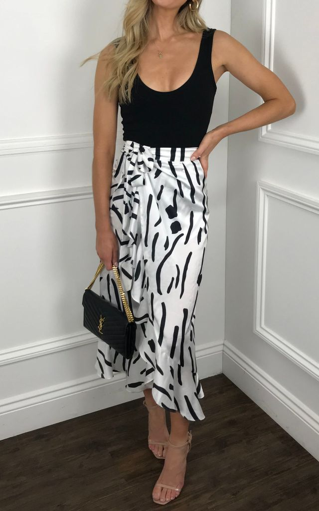 Midi wrsp skirt with frill detail in black and white primt