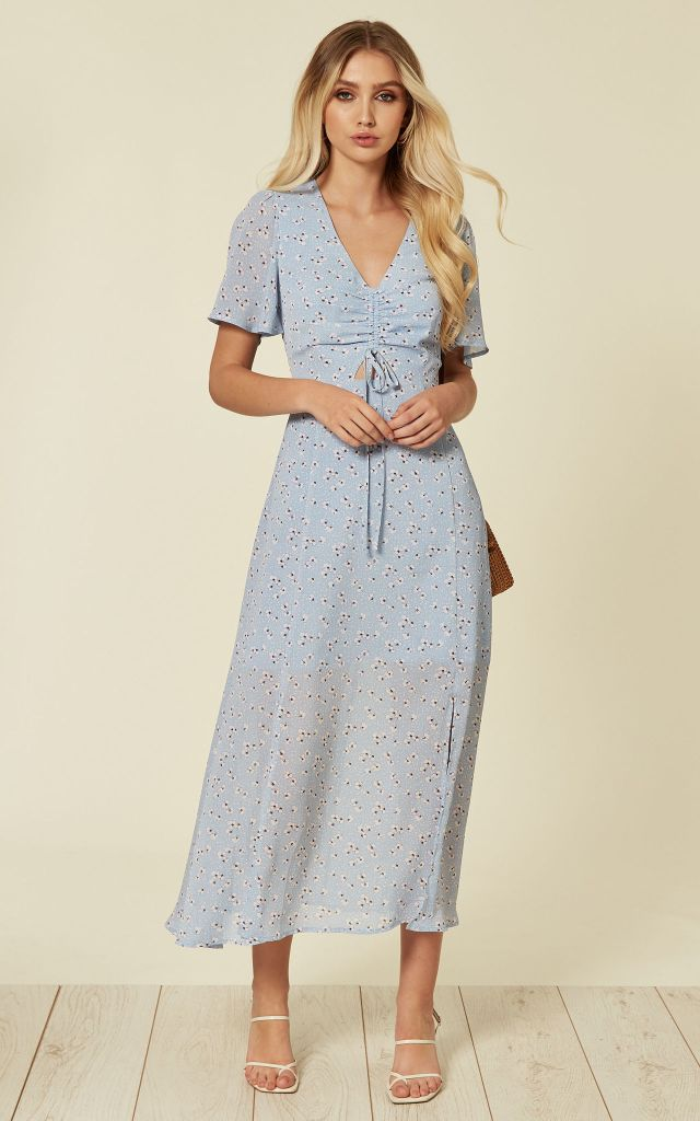 Blue midi dress in small floral print