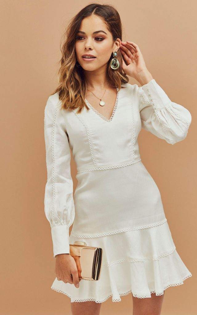 Long sleeve mini dress in white