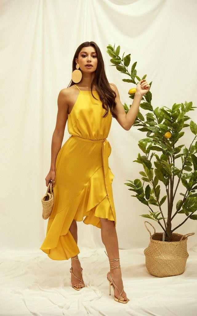 Frill hem halterneck dress in yellow