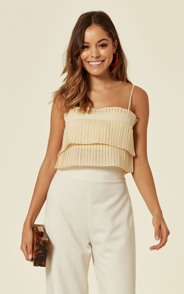 Crop top with frill detail in cream