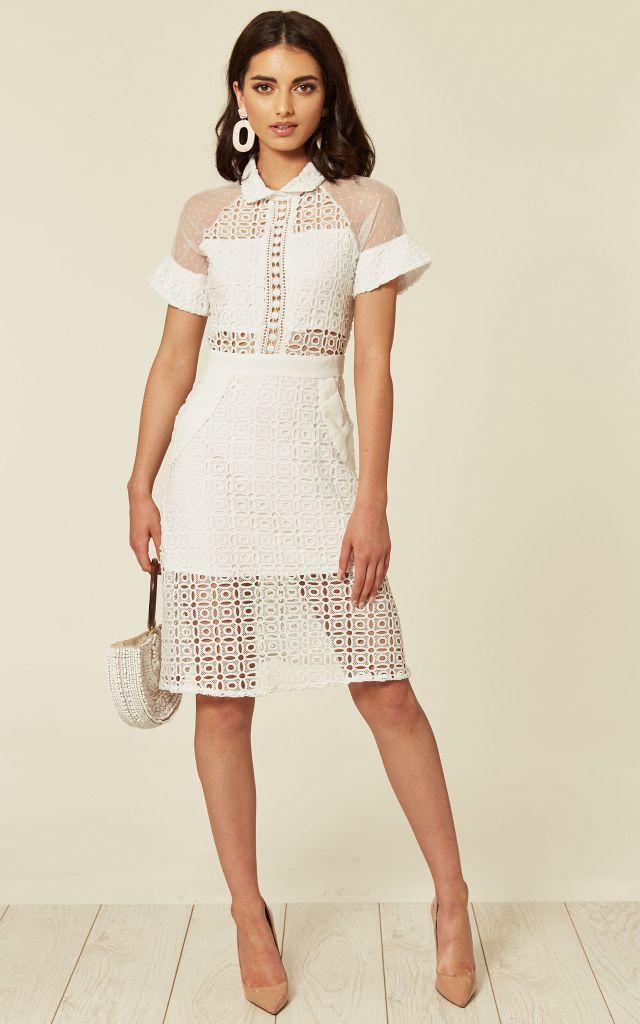 50% off white lace midi dress