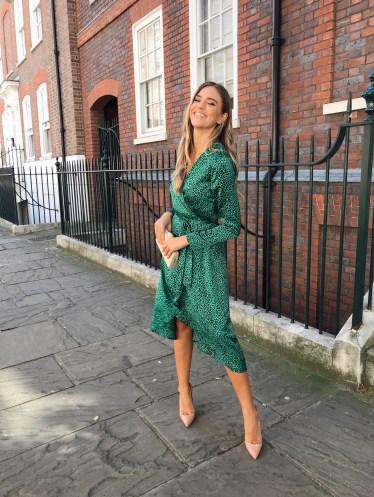 Midi dress in green leopard
