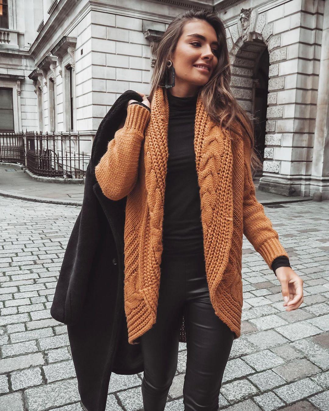 Chunky brown cardigan