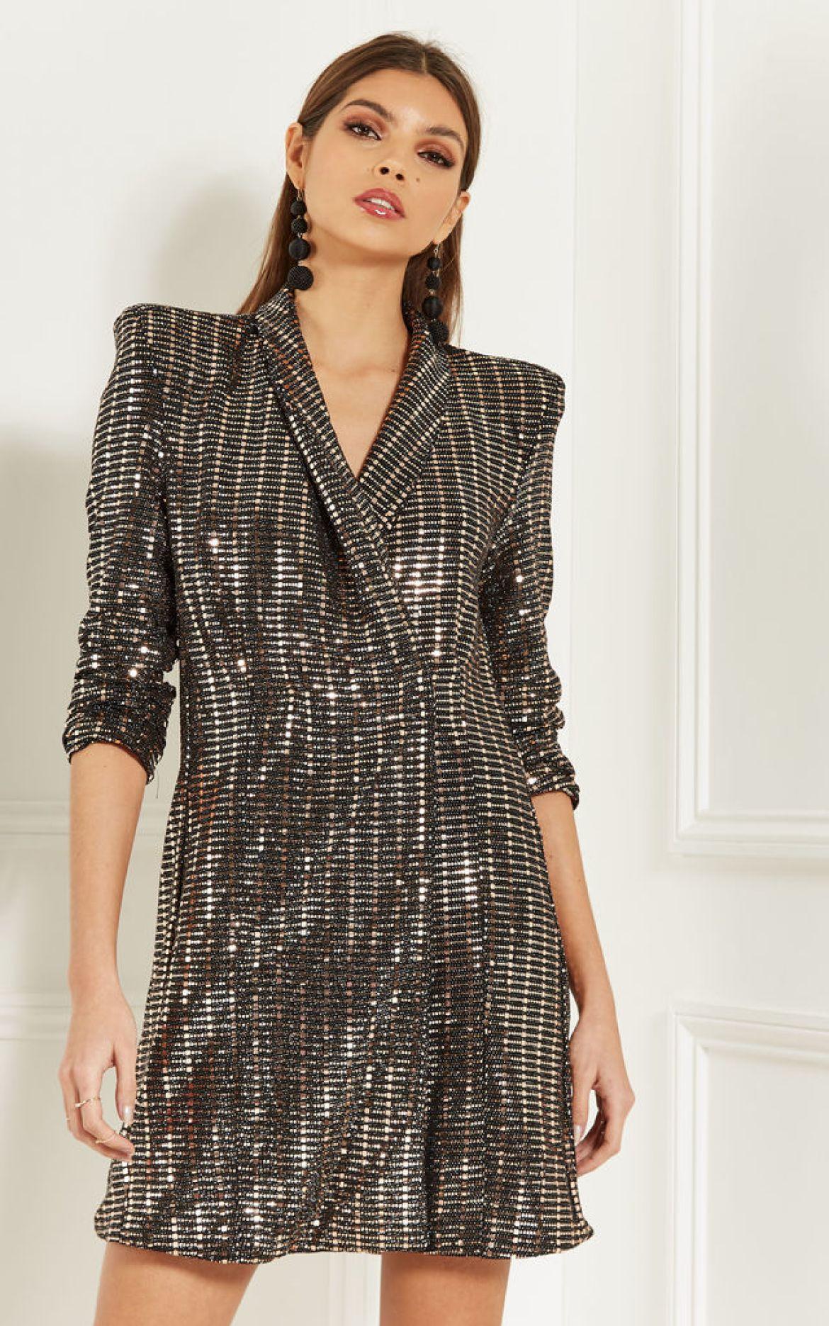 Sequin tuxedo dress