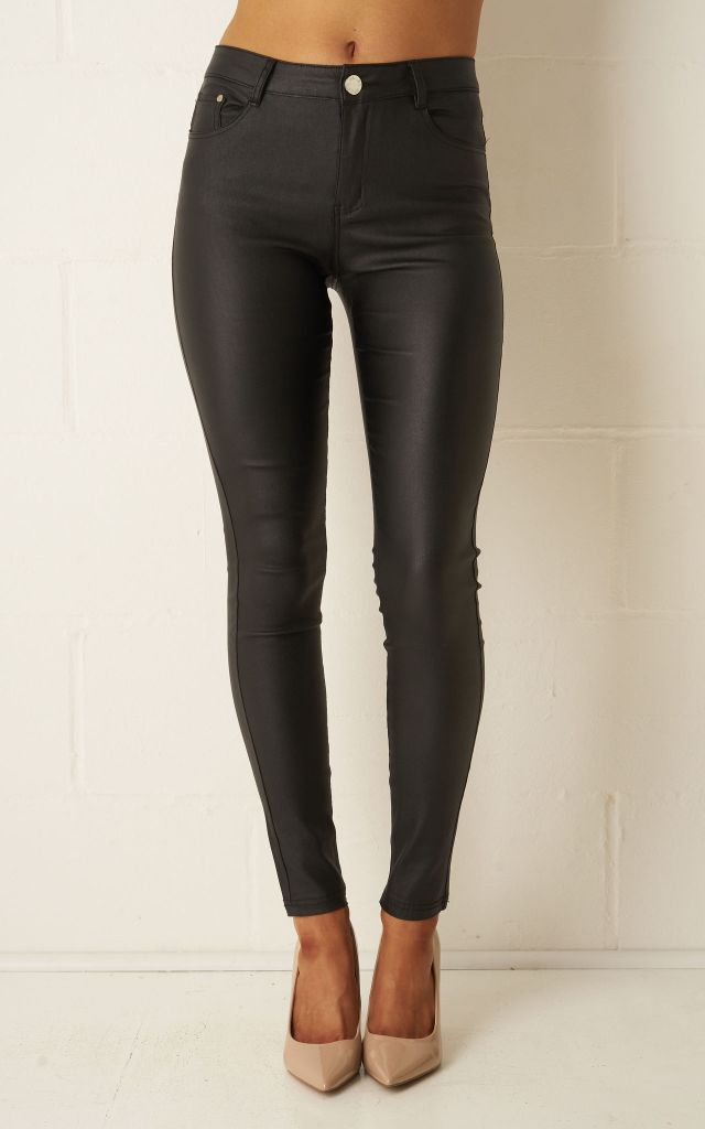 Faux leather black trousers