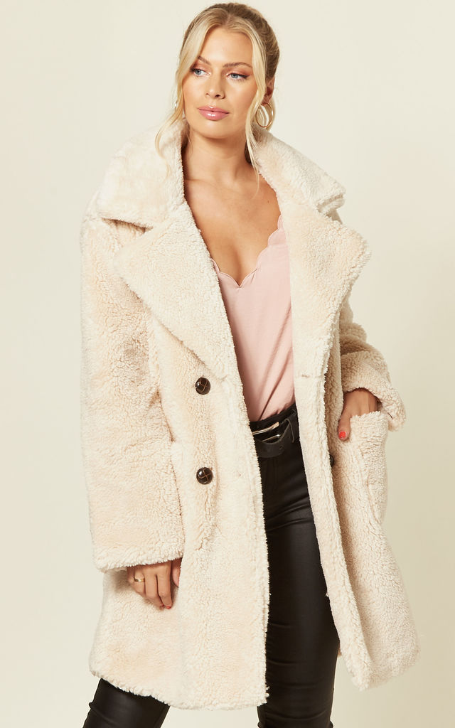 double breasted teddy coat in stone