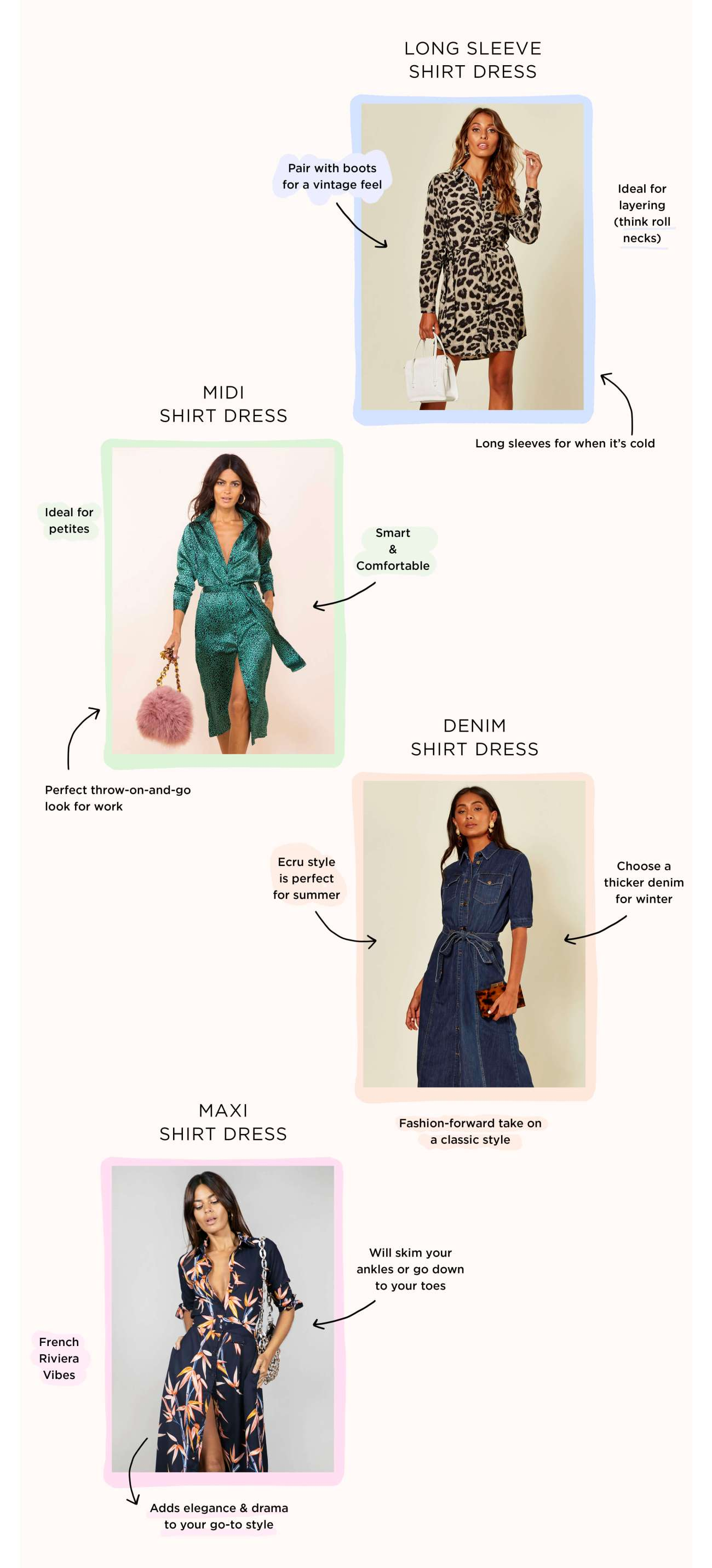 Four different types of shirt dress