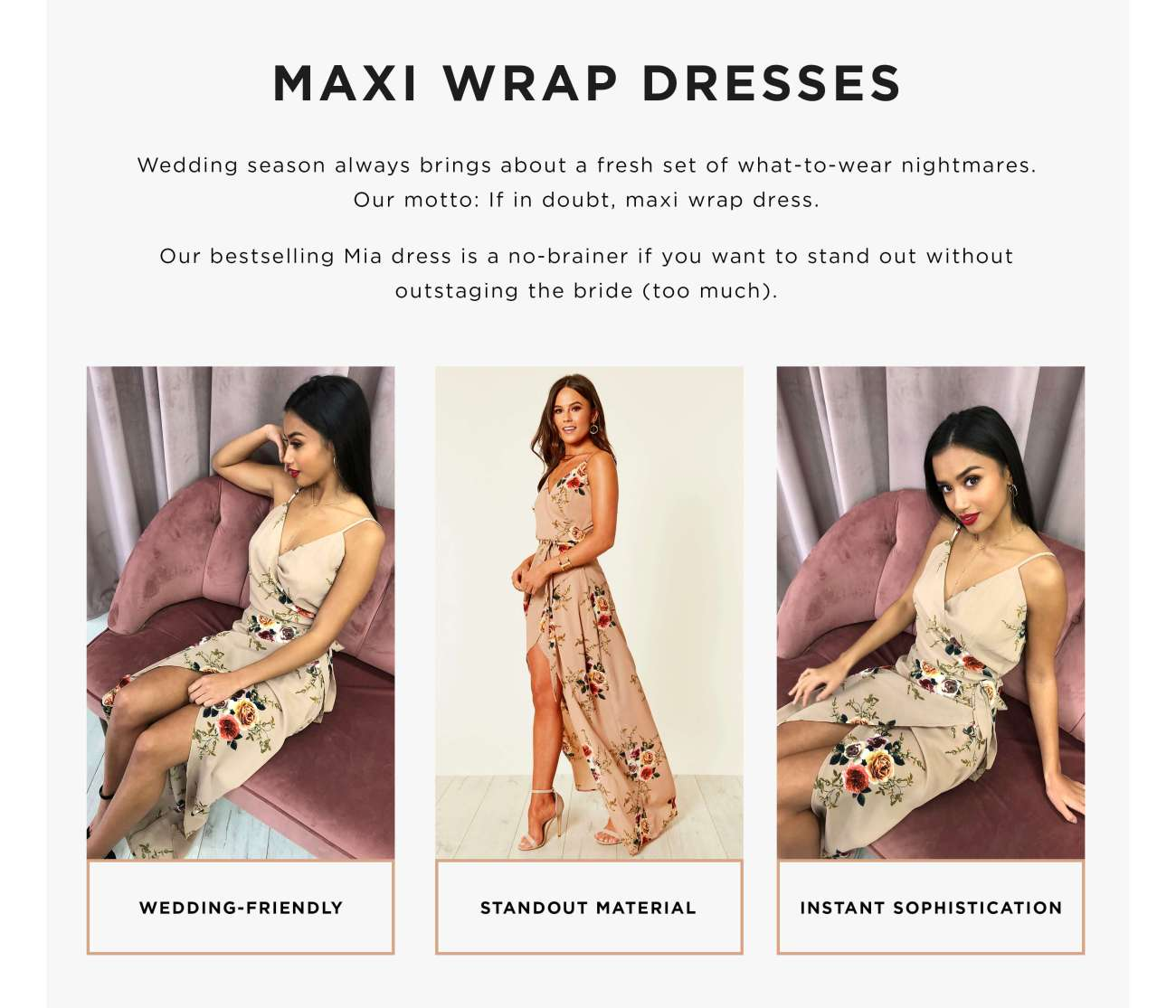 Types of wrap dresses - maxi
