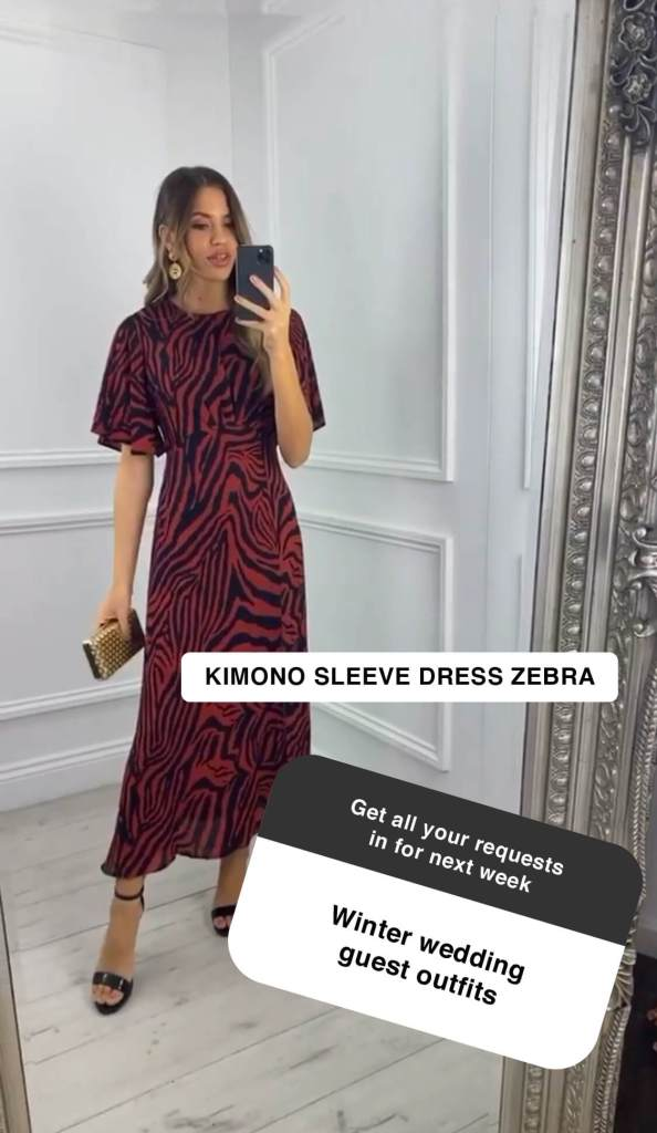 Model wears a zebra print dress taking a mirror selfie with instagram question overlaid