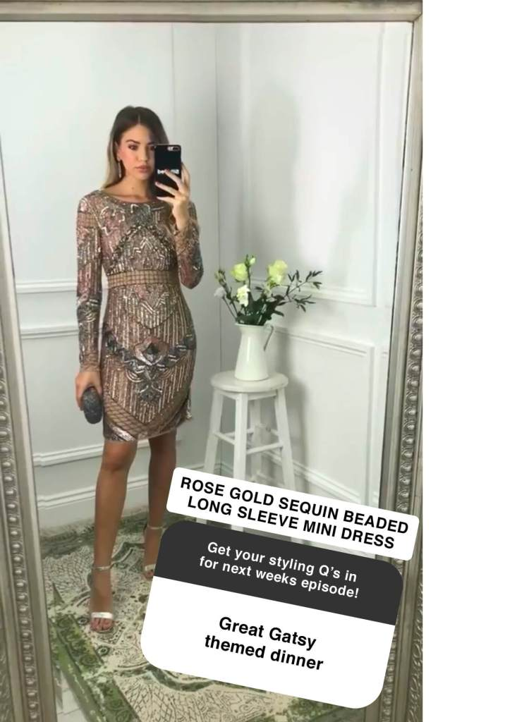 Model wears a beaded dress taking a selfie in a mirror with an instagram question overlaid on the image