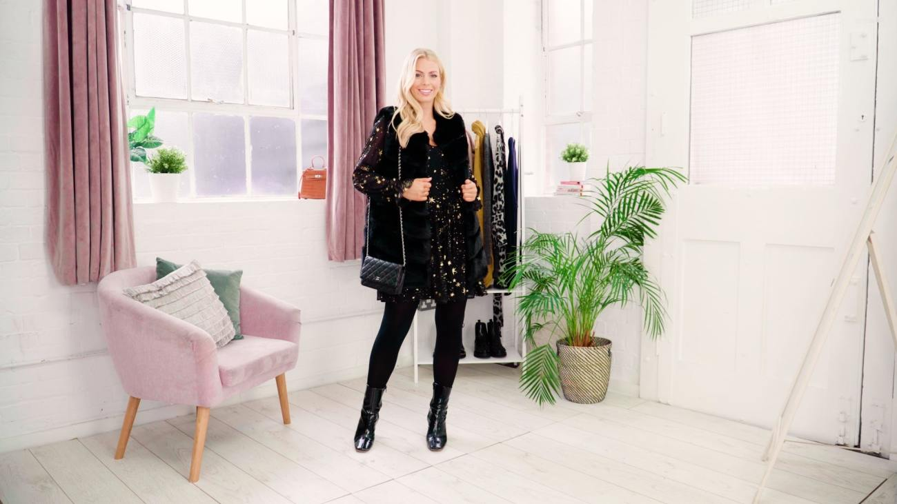 little black dress styled with gilet for winter