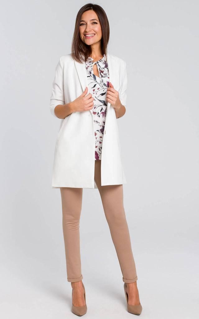 3/4 Sleeve Longline Jacket in White