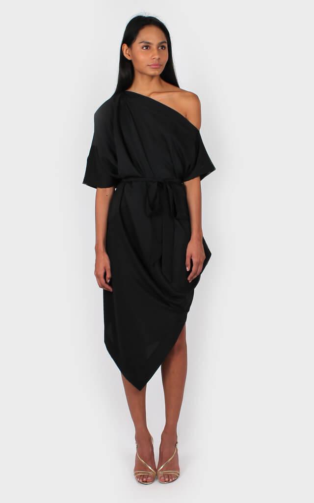 Ava Off The Shoulder Dress in Black