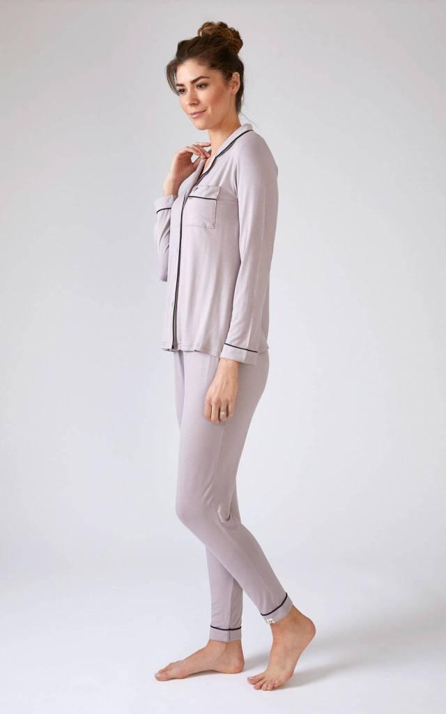 Long Sleeve Pyjama Set in Oyster Mauve-Grey