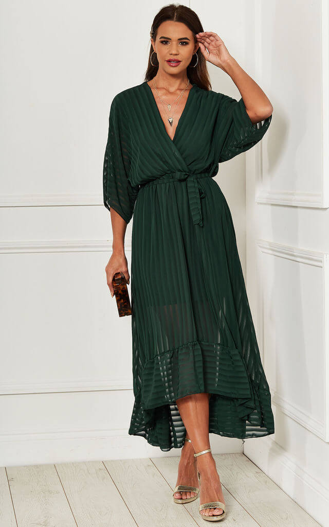 Forest Green Plunge Maxi Dress