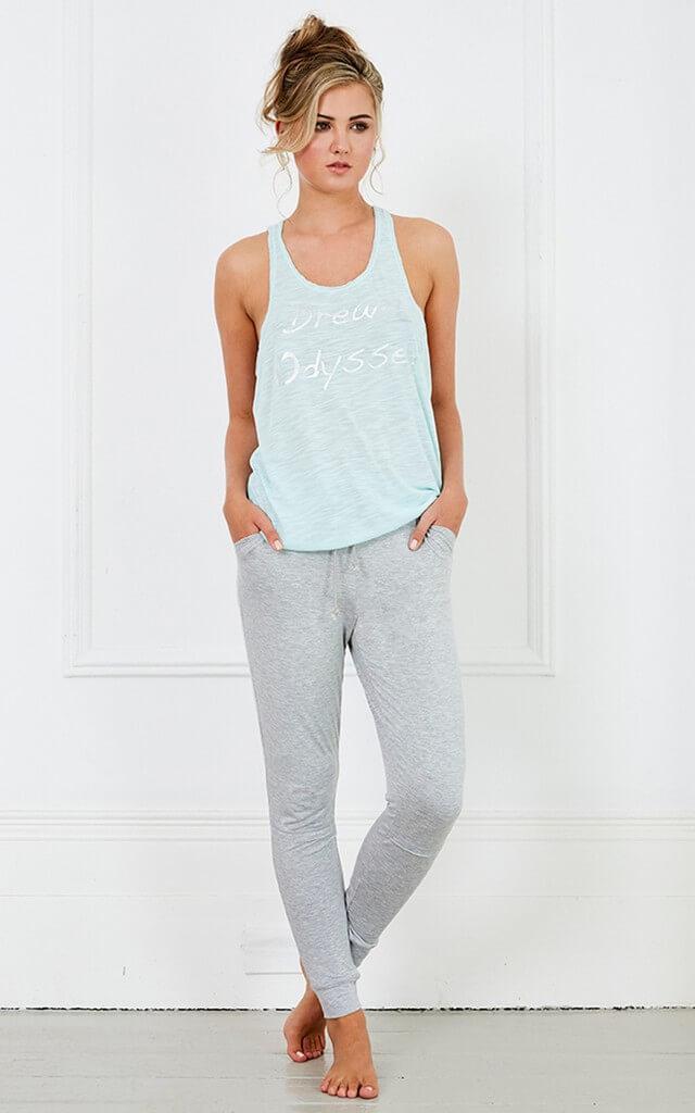 Grey and Blue Pyjama Set with Vest