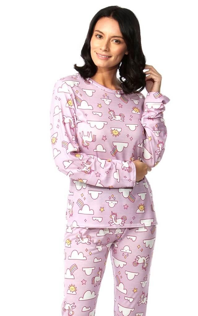Lilac Long Sleeve Pyjamas with Unicorn Print
