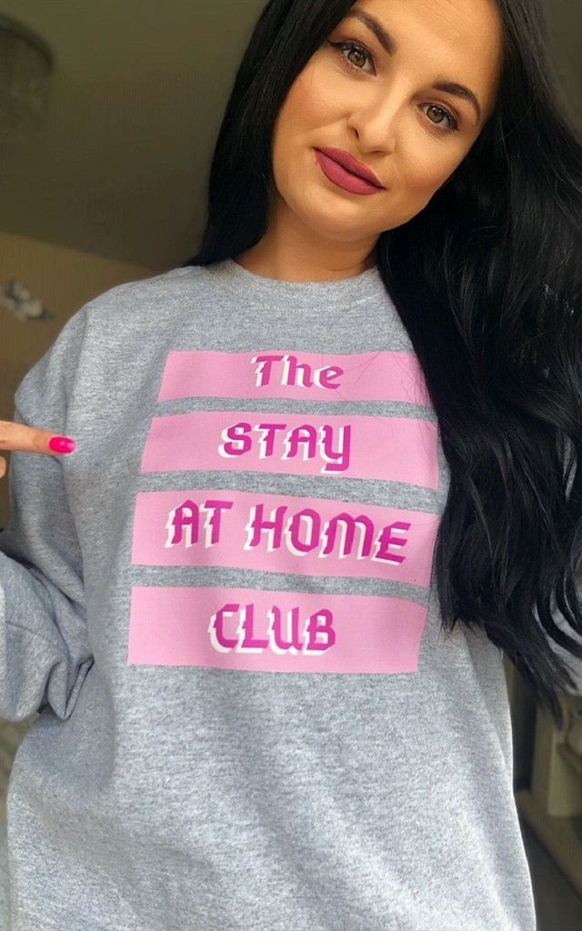 Oversized Grey Sweatshirt With Stay At Home Club Slogan