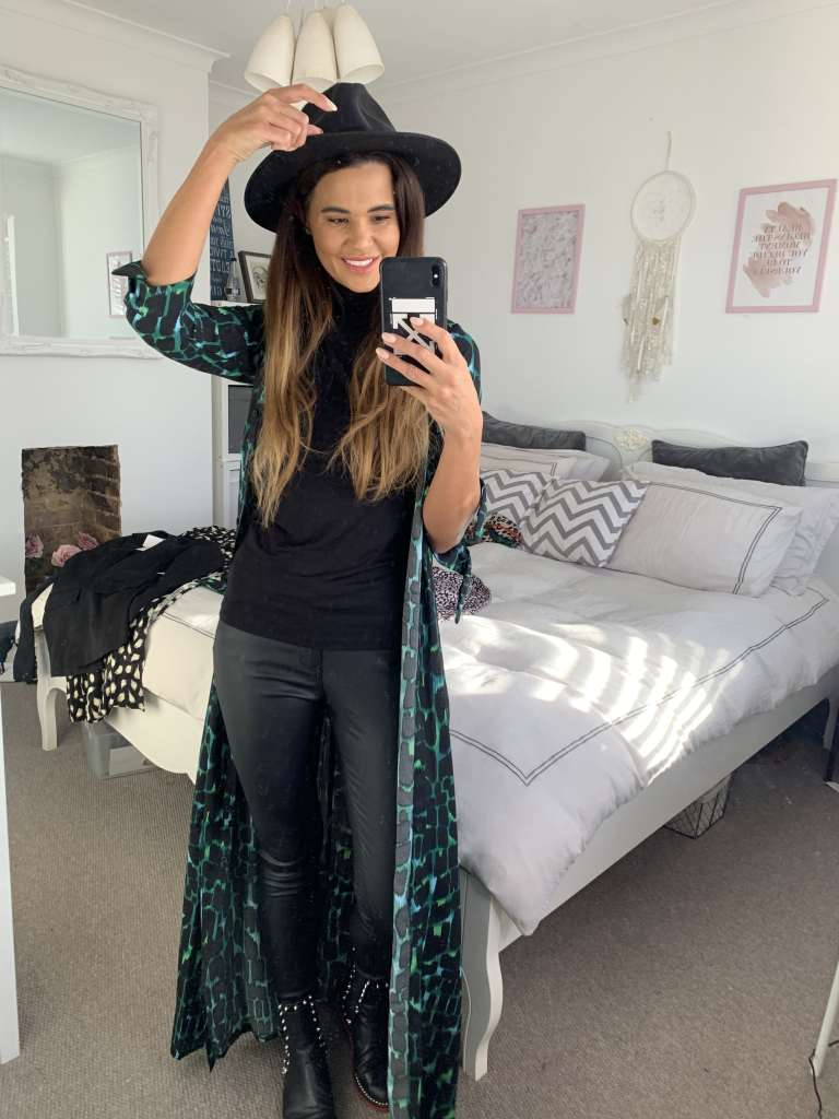 Work From Home Outfit With Maxi Dress And Leather Trousers