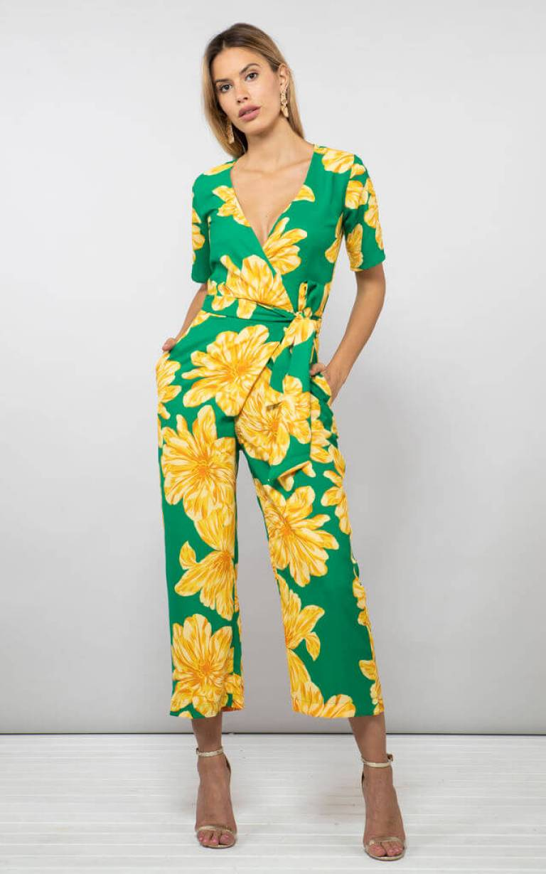 Atlantis Jumpsuit In Yellow On Green Bloom by Dancing Leopard | £24