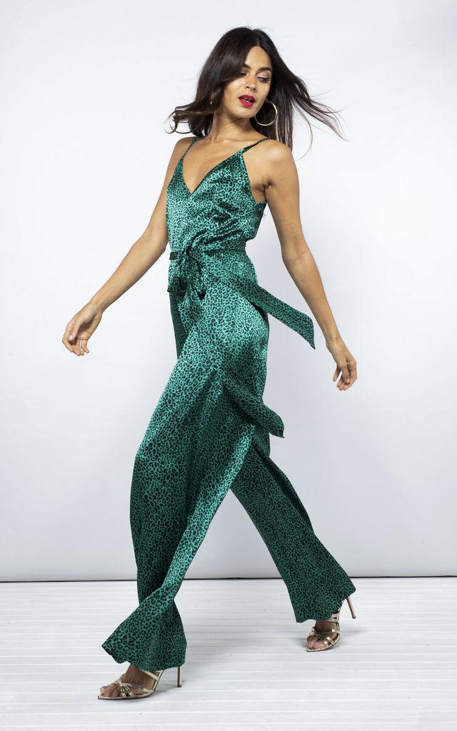 Gabriella Jumpsuit In Small Green Leopard By Dancing Leopard