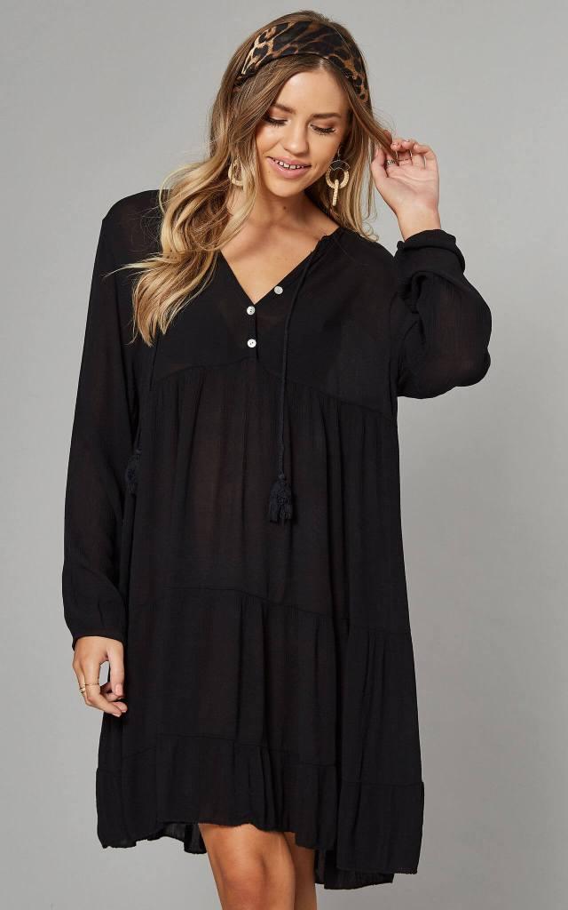 Neve Oversized Tunic Dress In Black