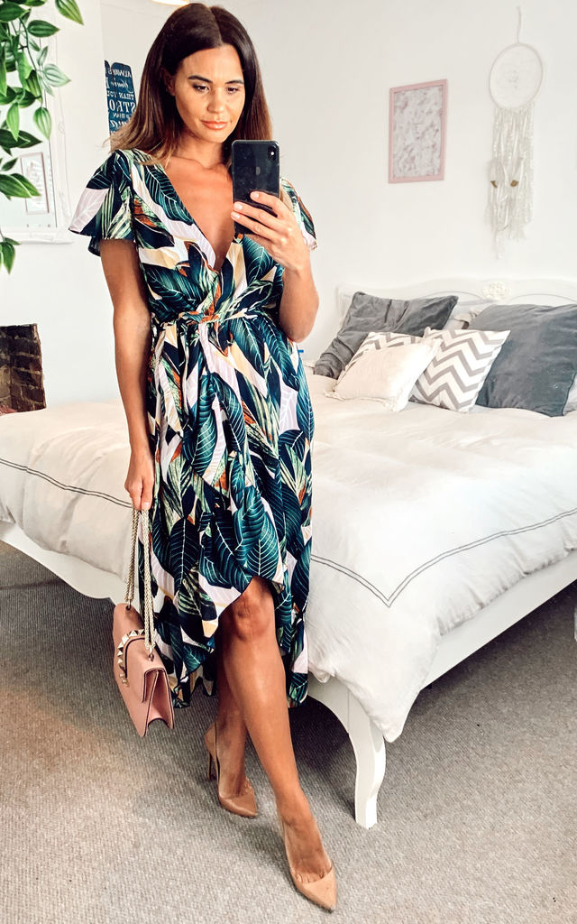 leaf-print-ruffle-wrap-maxi-dress-in-green-summer-day-dress