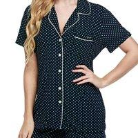 c602cb706a Ekouaer Women s Sleepwear Short Sleeve Pajama Set with Pj Shorts