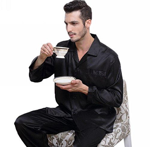 Mens Silk Satin Pajamas Set Sleepwear Loungewear Striped S~4XL Plus  For  Gifts  7-12days to USA 0a7e93a7d
