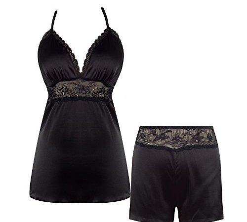 75d0bbf3eb Ekouaer Sleepwear Women s Short Pajama Set Sexy Lingerie Satin Cami ...