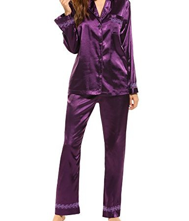 2b54c16438 HOTOUCH Women s Satin Pajamas Comfort Sleepwear Long Sleeve Pyjama Set S-XL
