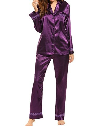 a887ddd11 HOTOUCH Women s Satin Pajamas Comfort Sleepwear Long Sleeve Pyjama Set S-XL