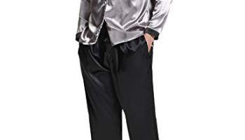 Aibrou Mens Silk Satin Pajama Set Luxury Sleepwear Long Sleeve Boxer  Pajamas Set 3d9f6c098