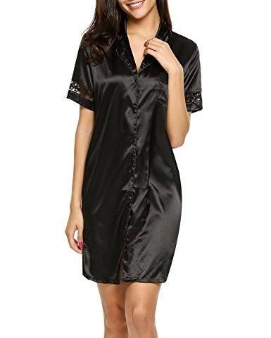 ec7c31395 Hotouch Women s Satin Sleepwear Short Sleeve Button Down Embroidery Lace  Sleepshirt S-XXL