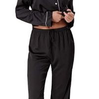 77d5d81046 Zexxxy Women s Satin Pajama Set Long Button Down Sleepwear Pants ZE0052