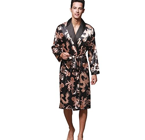 c936343b73 ZUEVI Men s Long Sleeve Satin Kimono Robe Dragon Lightweight Bathrobe  Pajamas