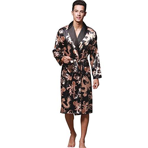 12c9cb5bdd ZUEVI Men s Long Sleeve Satin Kimono Robe Dragon Lightweight Bathrobe  Pajamas
