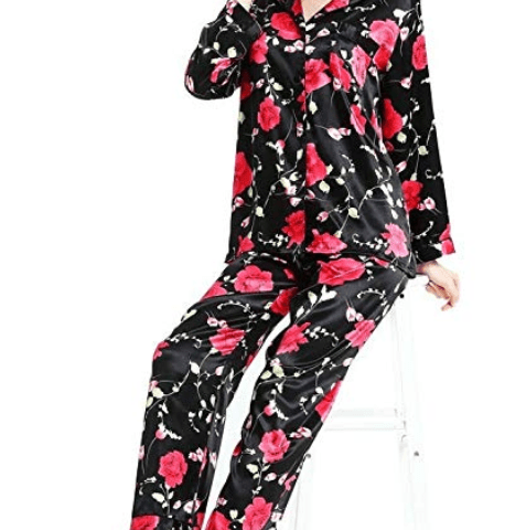 Womens Silk Satin Pajamas Set Sleepwear Loungewear XS~3XL Plus c8ff1f381