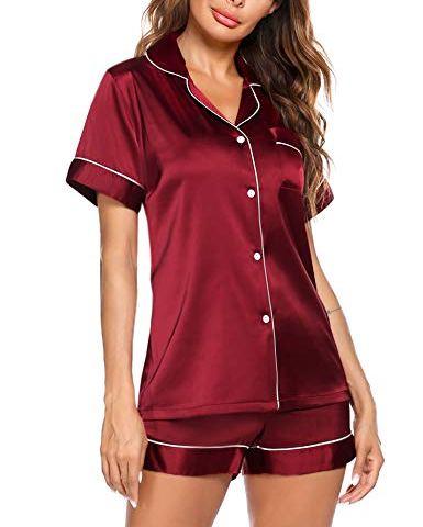 Hawiton Womens Short Pajamas Set,Soft Stripe Loungewear Short Sleeved Cotton PJ Set Nightwear Sleepwear for Summer