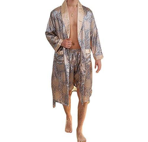JSY Mens Shorts Satin Housecoat Silk Sleepwear Printed Pajama Bottoms