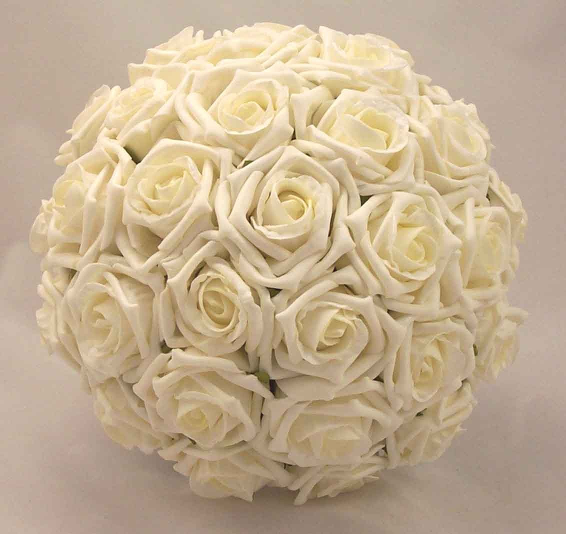 Bridal Bouquets  Ivory Open Rose Bridal Posy  Silk
