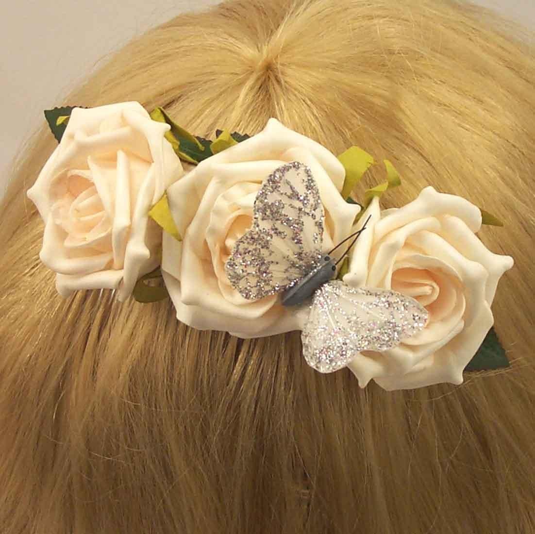 Hair Combs Ivory Rose Hair Comb Silk Wedding Flowers