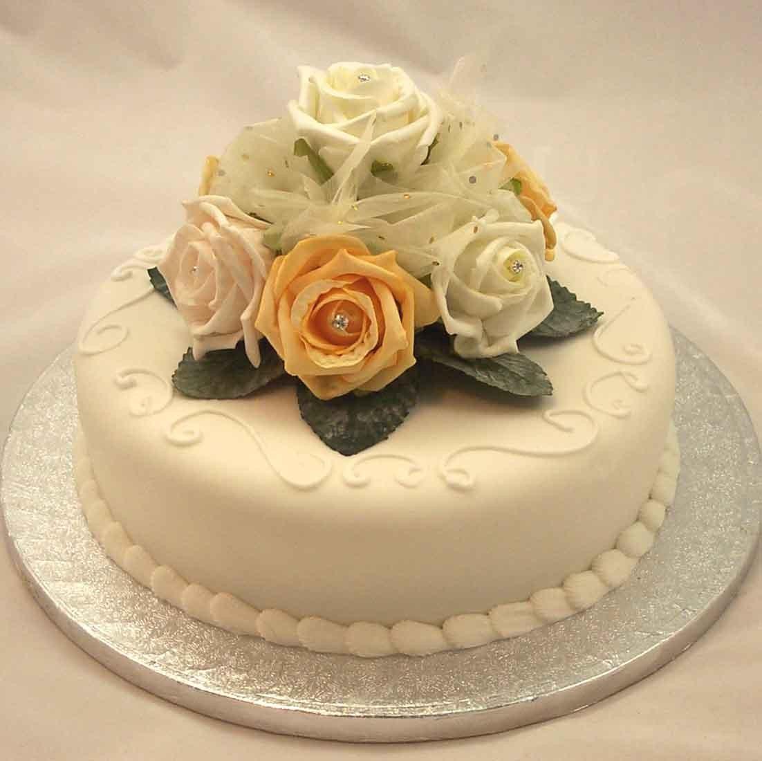 Cake Decorations  Ivory  Gold Rose Diamante Organza Cake