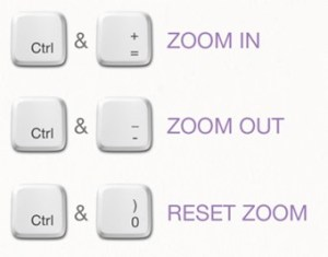 keyboard keys to zoom in and out
