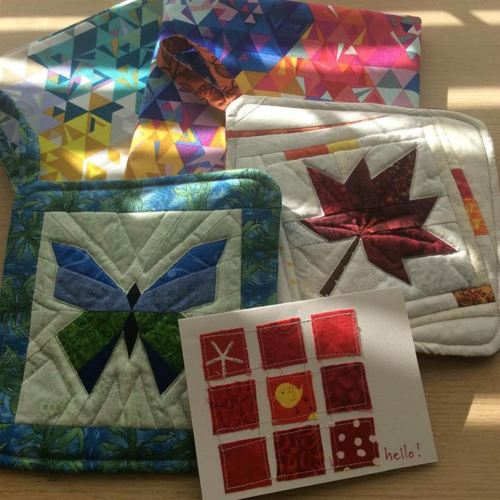 Happy mail day! Great @alisonglass #exlibrisfabric from @pinkdoorfabrics and some fun treats from a blog reader - #lovemylife happy Monday!