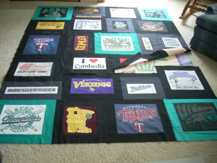 t-shirt quilt top finish
