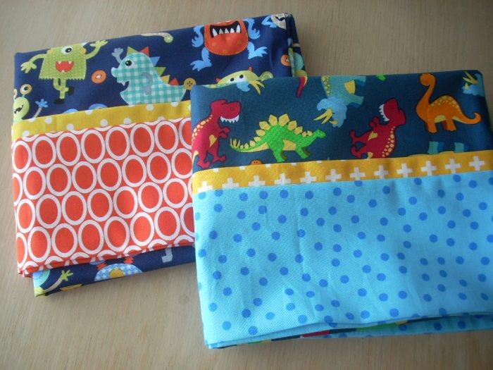 monster and dinosaur pillowcases for Cedar