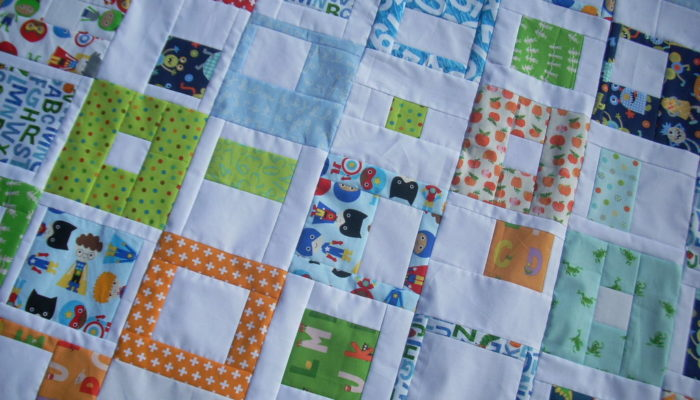 bright baby boy quilt top
