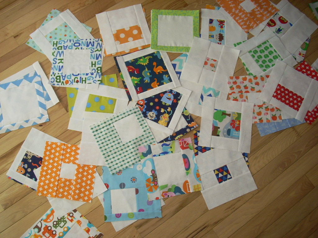 bright blocks turn into a quilt